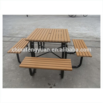 Fyhb American Style Wooden Picnic Table With Metal Legs For - Metal wood picnic table