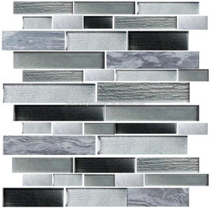 1*1' linear wave silver grey glass mix stone mosaic tile -- wall tiles