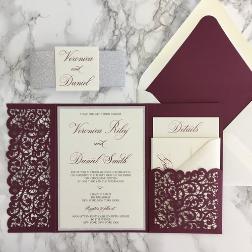 Burgundy Tri Fold Laser Cut Pocket Wedding Cards with Lined Envelope