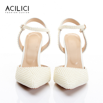 Women Sandals with Pearls Genuine Leather Sling Back Shoes