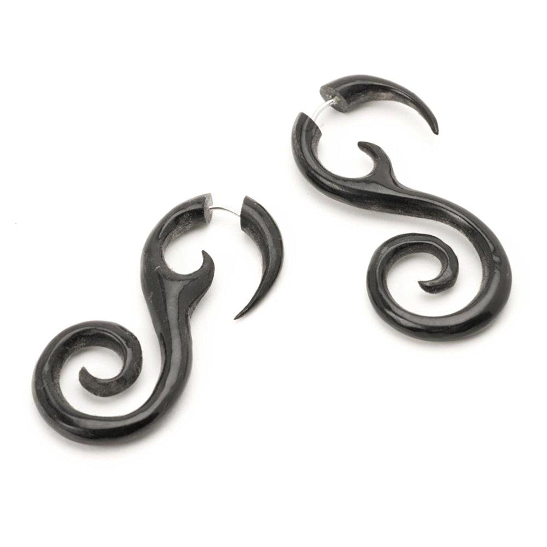 81stgeneration Black Horn Fake Taper Stretcher Spiral Round Tribal Earrings