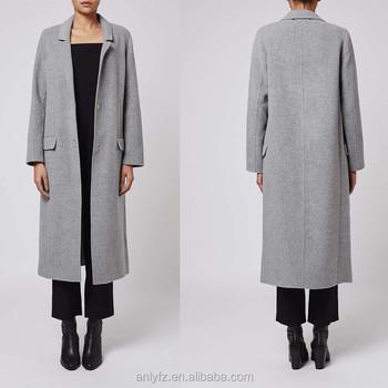 Anly Latest Design Ladies Grey Wool Long Winter Coats High Quality Sleeve Handmade