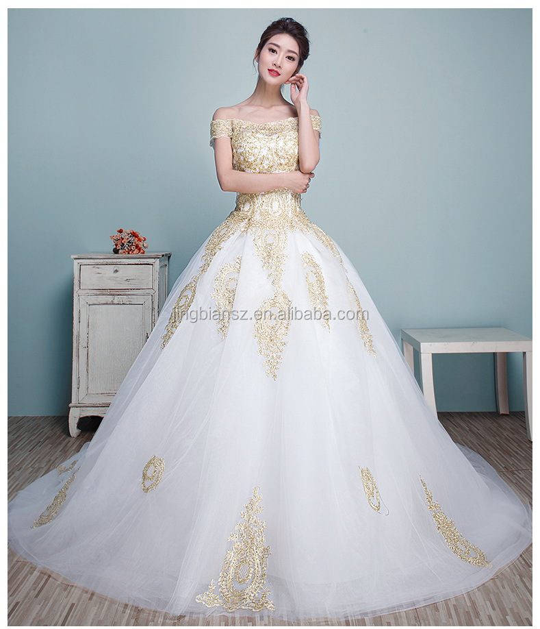 Stunning Boat Neck Gold Lace Special Bridal Wedding Dress #ow8017 ...