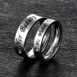 Fashion Cheap Stainless Steel Ring Zircon Finger Ring With Word For Couple