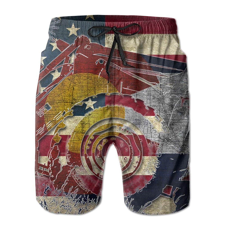 Mens Vintage USA Puerto Rico Flag Boardshorts with Drawstring Swimming Shorts