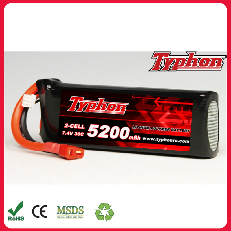 30C max 60C high discharge 7.4V 5200mAh 2 cell lipo lithium polymer battery 2 3s