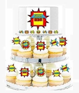 CakeSupplyShop Item#24518 Boy's Super Hero Theme Cascading Cupcakes - Cake Toppers & Edible Picks