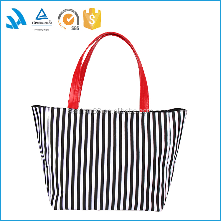 2015 hot sale supplier reuseable large strip canvas bag/tote bag canvas/canvas beach bag