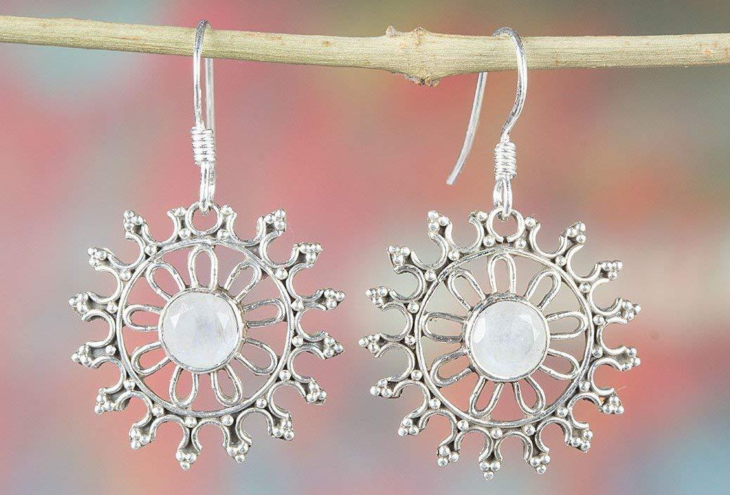Rainbow Moonstone Earrings, 925 Sterling Silver, Antique Earrings, Gypsy Earrings, Organic Earrings, Attractive Earrings, Best Price, 13th Anniversary Earrings, Love Earrings, Relationship Earrings