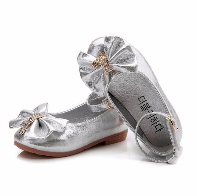 ea1bdee490c Children Princess Shoes Pink  Gold Silvers Band Soft Sole PU Leather  Fashion Bowknot Rhinestone Flower Girls Dress Shoes