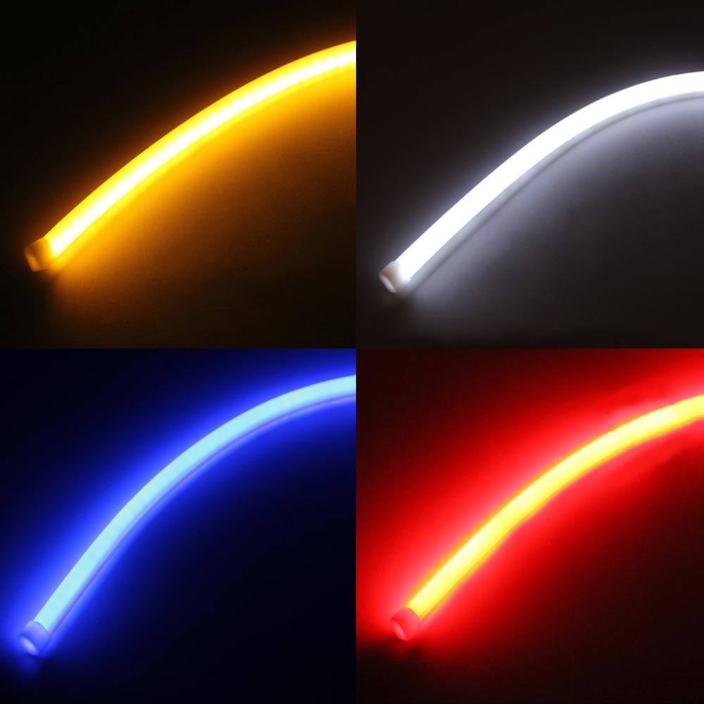 2016 2pcs 60cm drl flexible led tube strip style daytime running lights tear strip car headlight. Black Bedroom Furniture Sets. Home Design Ideas