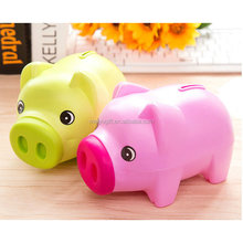 cute pig soft touch pvc plastic money container for money saving