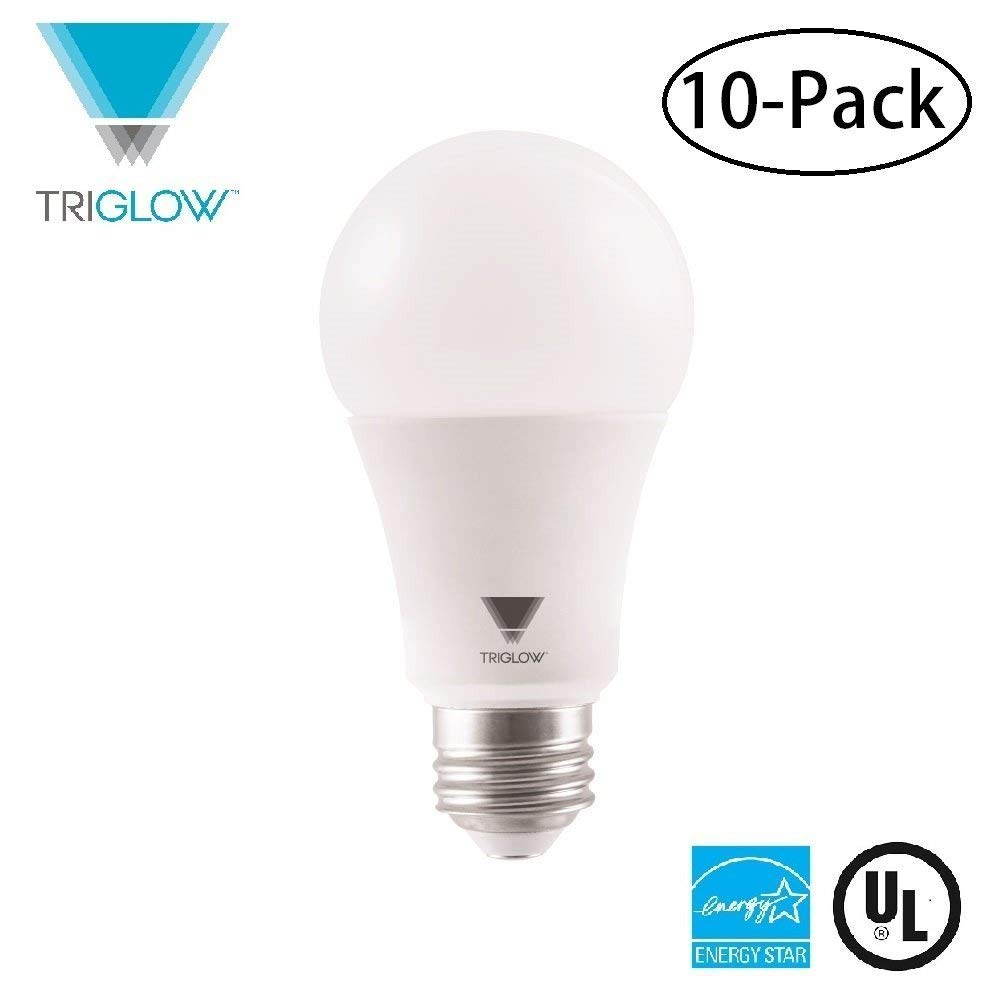 TriGlow T94443-10 (Pack of 10)15-Watt (100W Equivalent) A19 LED DIMMABLE Bulb, 3500K (Deco White Color), 1600 Lumens and E26 Base, UL Listed and Energy Certified