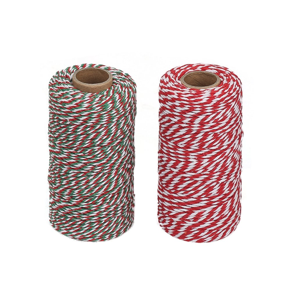10m Bakers Twine Orange//White 4ply 1mm Cotton  Crafts Gift Wrapping
