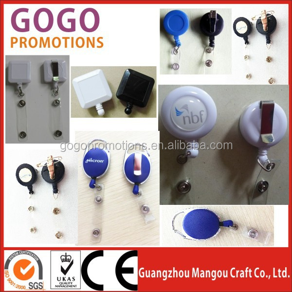 Lanyard retractable badge reel with stop function key ring and plastic strap, Custom OEM custom square badge pull reel