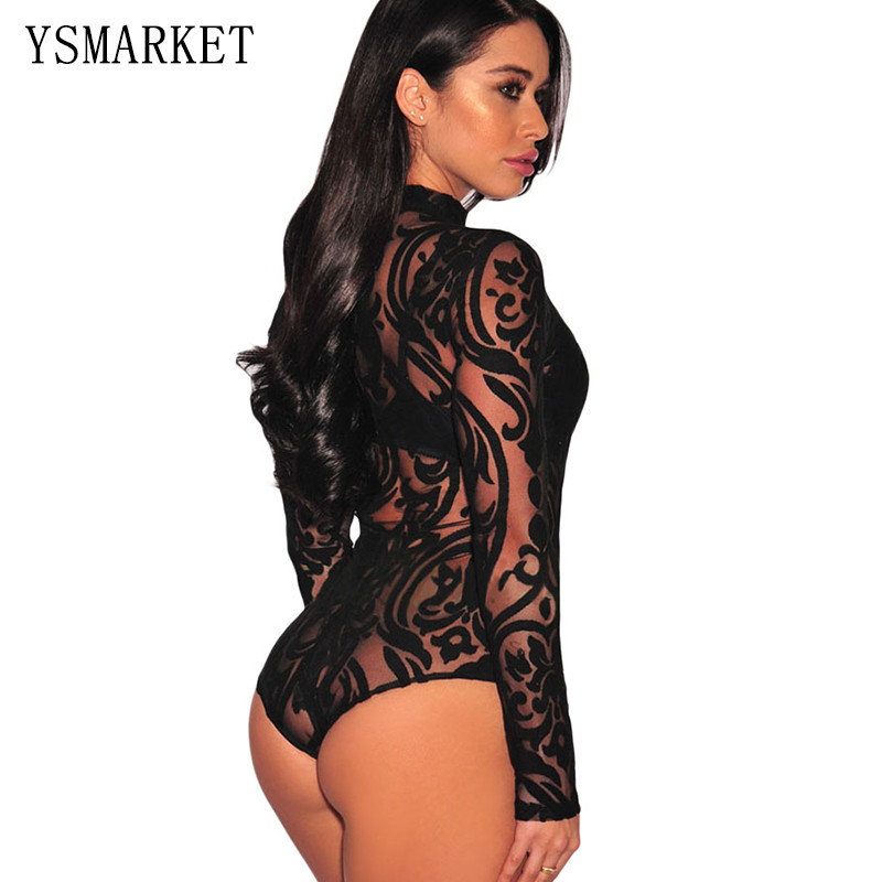 Sexy Hollow Women Sheer Mesh Long-sleeve Fishnet Cut out Teddy O-neck  Bodysuit One Piece Underwear Teddies Bodystocking Fis32008 213754bd4