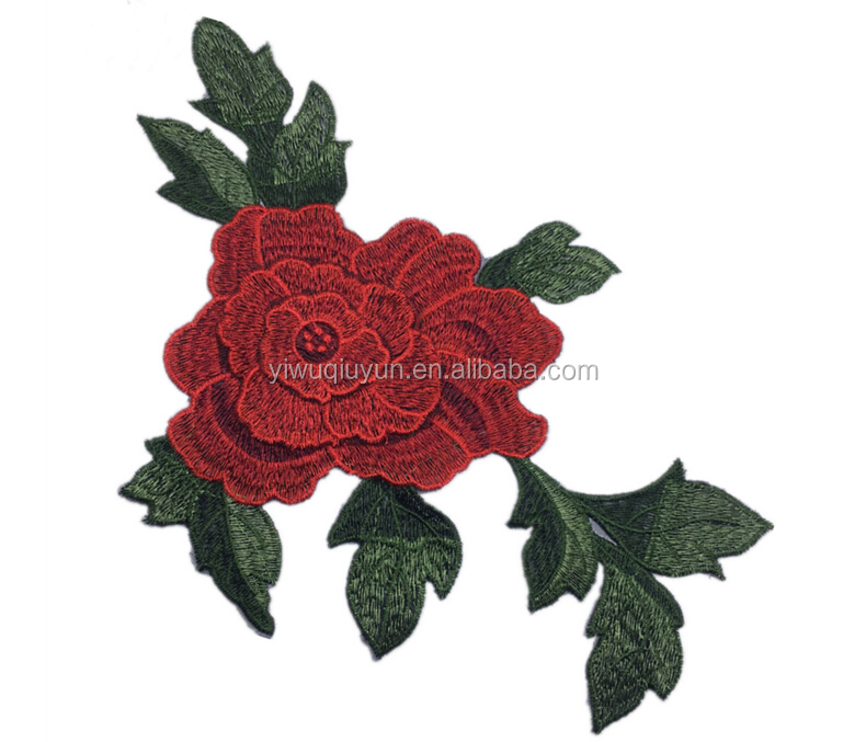 3D Flower Patch Clothing Accessories Red Flowers Embroidery Applique Decoration Accessories Embroidered Patch