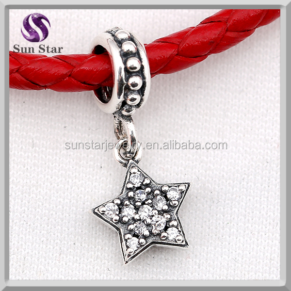 1:1 White star Pave charm bead Compatible charms fit Europe History Fine Jewelry Brand