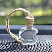 High quality apple shaped empty hanging car air freshener 5ml perfume glass bottle