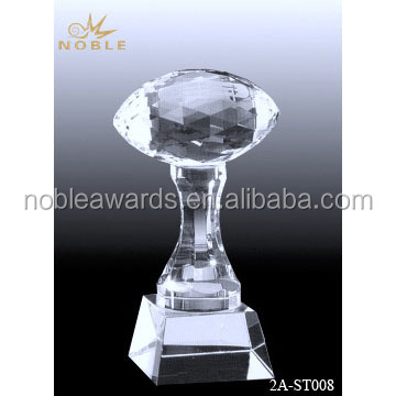 2016 China Hand Clear Cheap Crystal Prestige Football Trophy