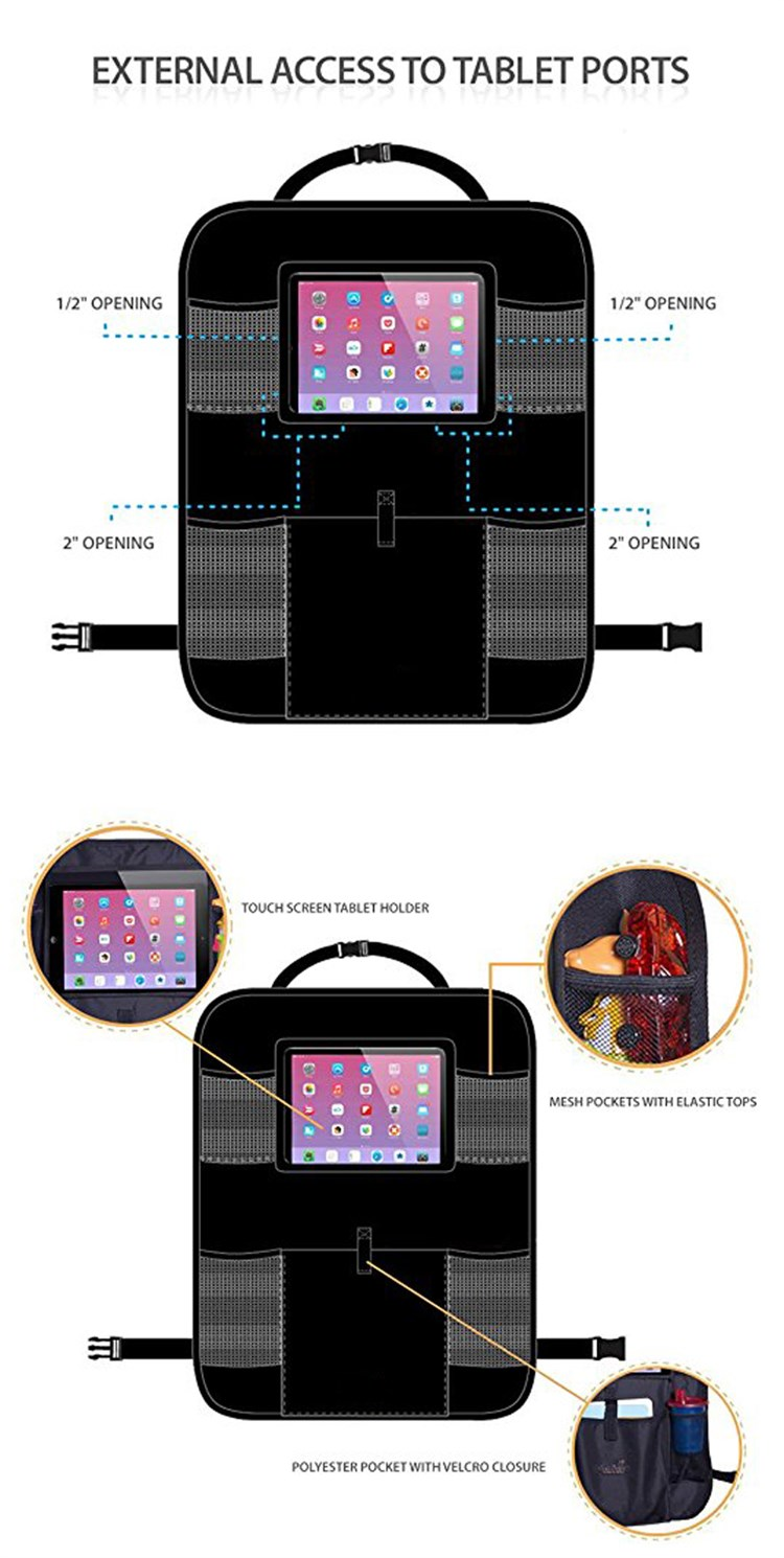 Luxury Car Back Seat Organizer with Tablet Holder - Touch Screen Pocket