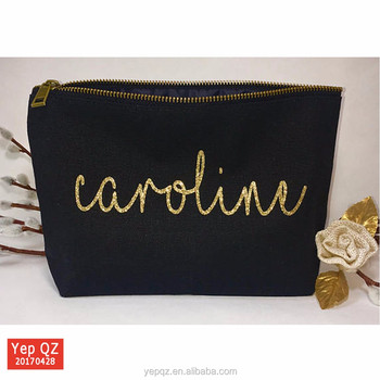 Luxury Black Large Cosmetic Bag With Glitter Gold Printing Custom Canvas Makeup Bags For Women