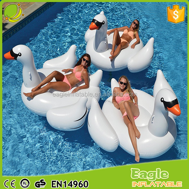 Custom summer holiday pool float inflatable water park beach floating PVC Ride-on swimming swan float