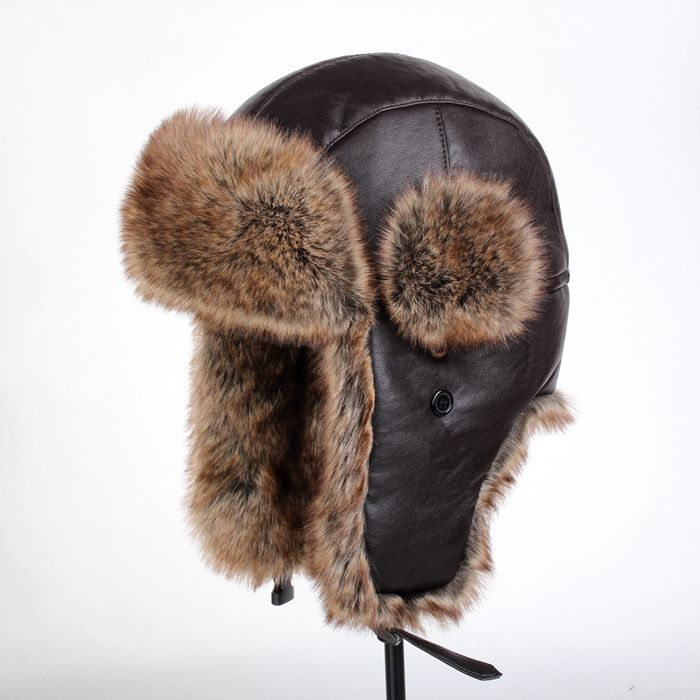 a9bd885b4af99 Get Quotations · Brown Faux Leather Russian Hat Unisex Bomber Hats skiing  hat Outdoor winter hat NVLFMA14