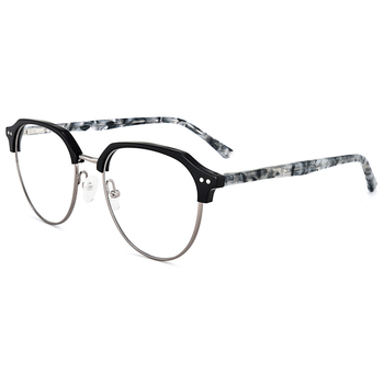 New Trend Half-rim Acetate Metal Eye Glasses Spectacles Frames In ...