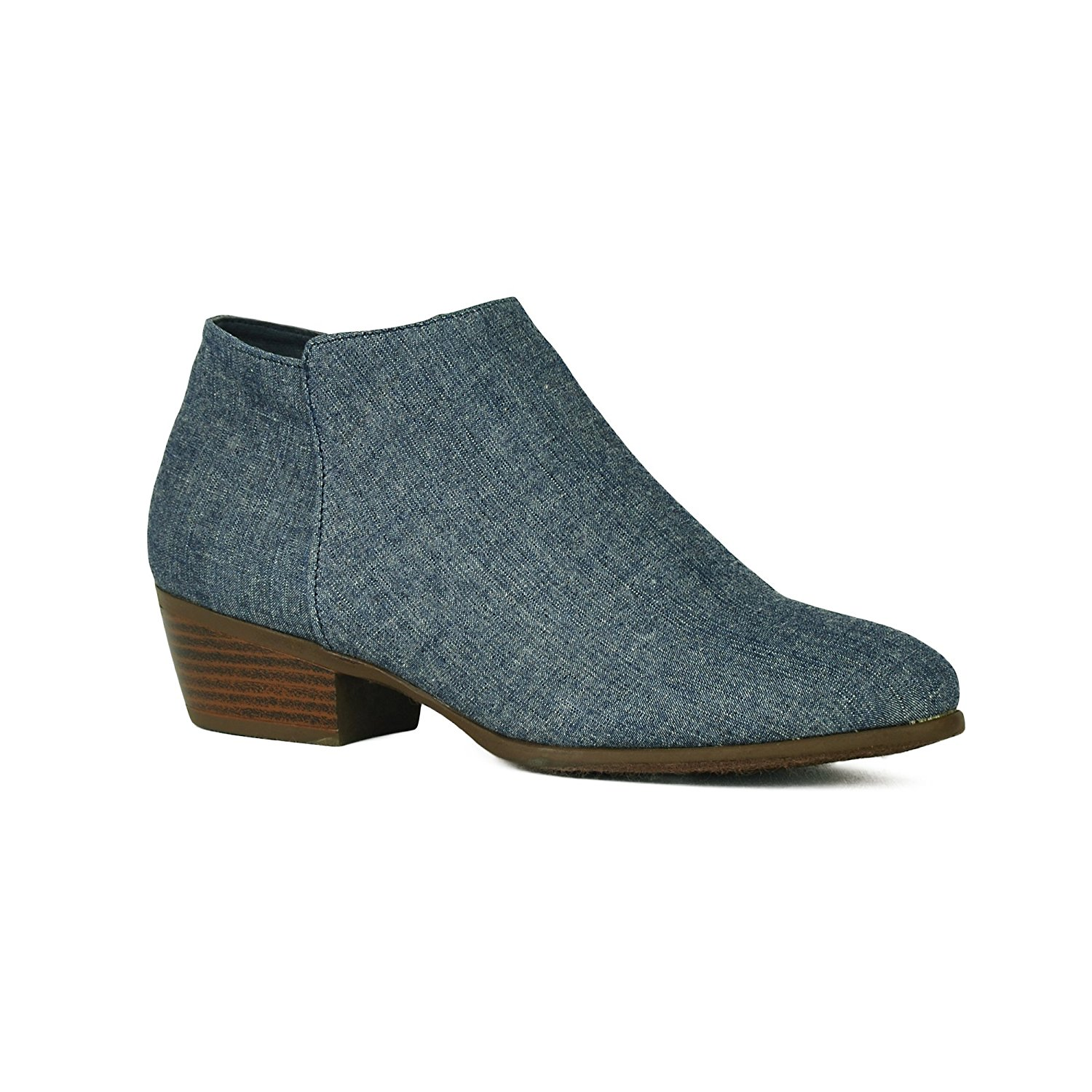 ShoBeautiful Women's Stacked Block Heel Booties Cowgirl Side Zip Low Chunky Heel Casual Western Ankle Boots Slip On Shoes