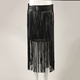Skirt Style Black Fringe Leather Belts for Women 70cm Long Tassel Belt dress belt