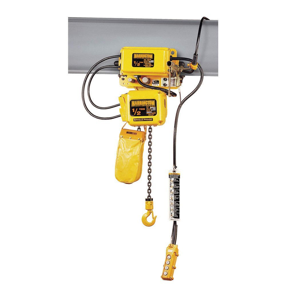 Harrington SNERM020L-L-15 Series SNER Single Phase Electrical Hook Mount Chain Hoist with Motorized Trolley, Single Low Speed, 40 fpm Low Traversing Speed, 2 Tons Capacity, 15' Lift