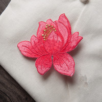 Custom flower appliqued embroidery patches for clothing with adhesive
