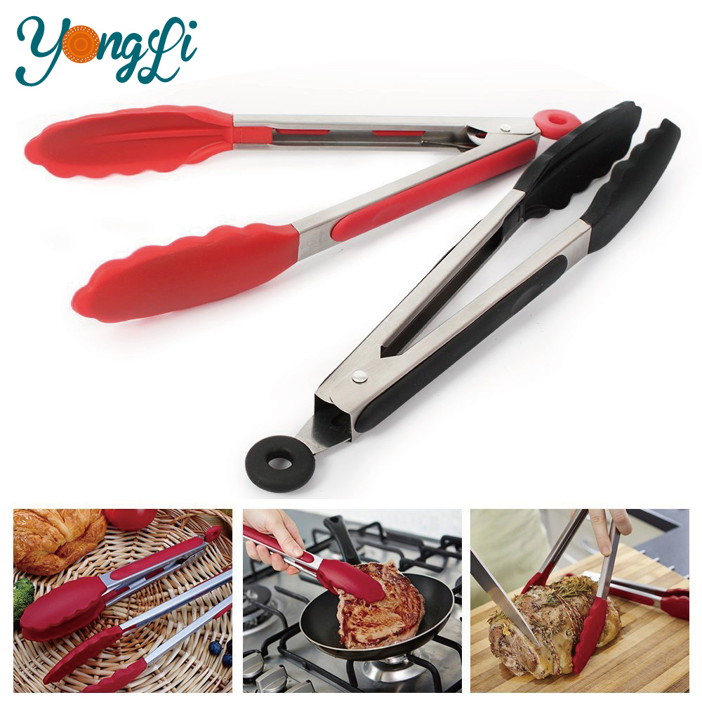 Silicone Stainless Steel Tong Set - BBQ Salad Bread Serving Tongs Kitchen Cooking Tools