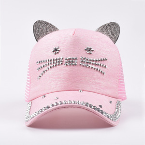 2019 spring new baseball cap visor female Japanese cute cat ears cap