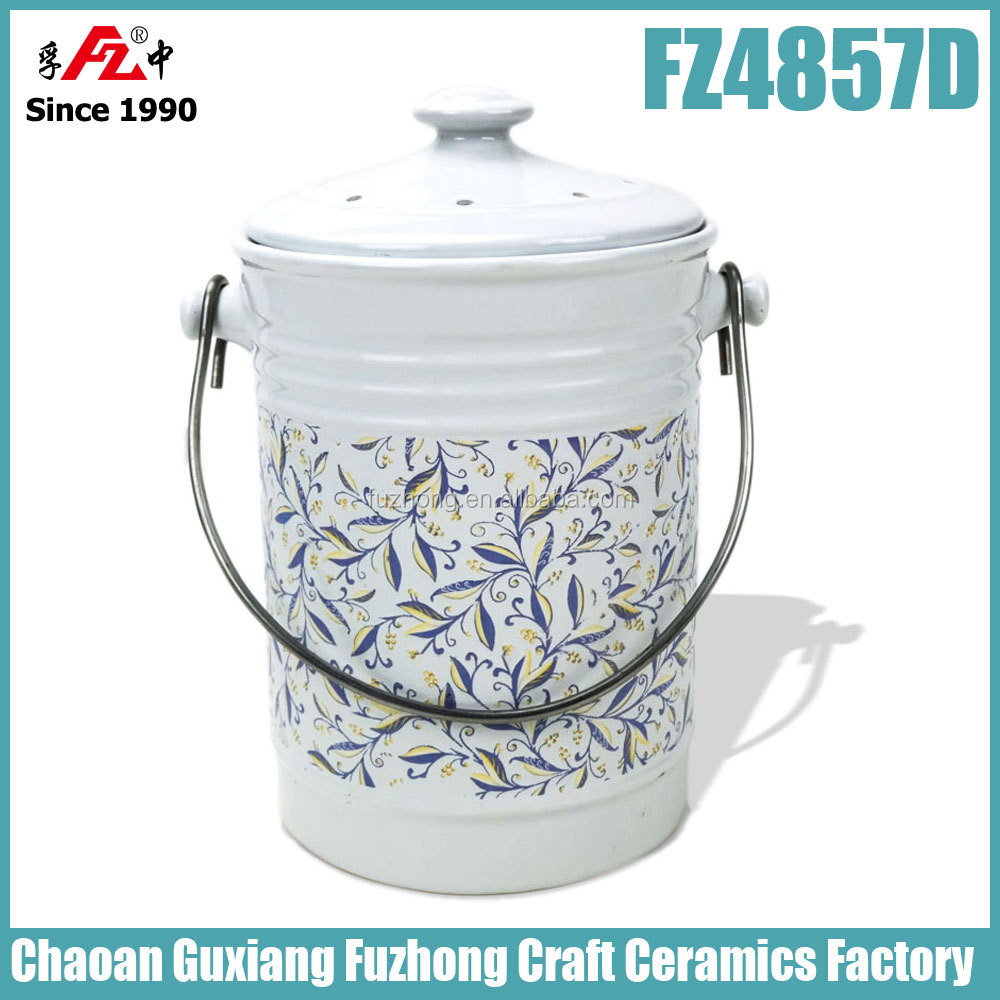Kitchen Ceramic Compost Bin,Compost Bucket,Compost Pail With Carbon ...