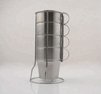 Set of 4 stainless steel travel coffee mug with handle