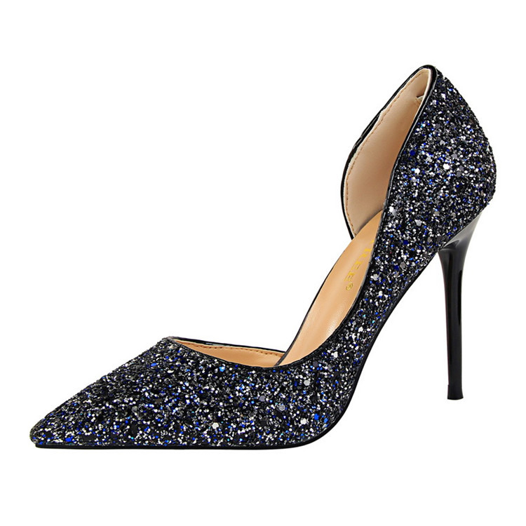 Side Cut Outs Prom Pumps Night Club Bling Bling Glitter