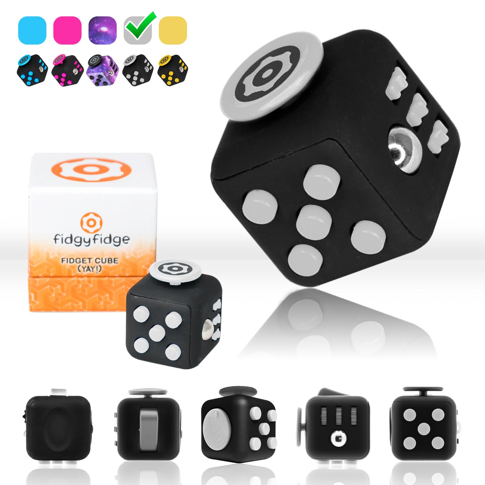Fidget Cube by FidgyFidge | Anti-Stress Cube, Anxiety Toy, ADHD Fidget Toy for Better Focus and Stress Relief (Black)