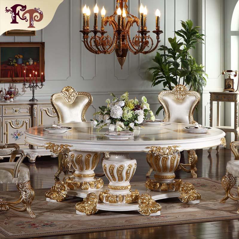 Gothic Furniture Handwork Gilding Golden Foil Royalty Dining Table
