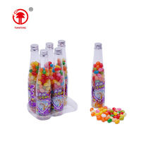 Cheap rainbow food candy 140g bottle halal soft candy assorted fruit round jelly beans sweet candy sale