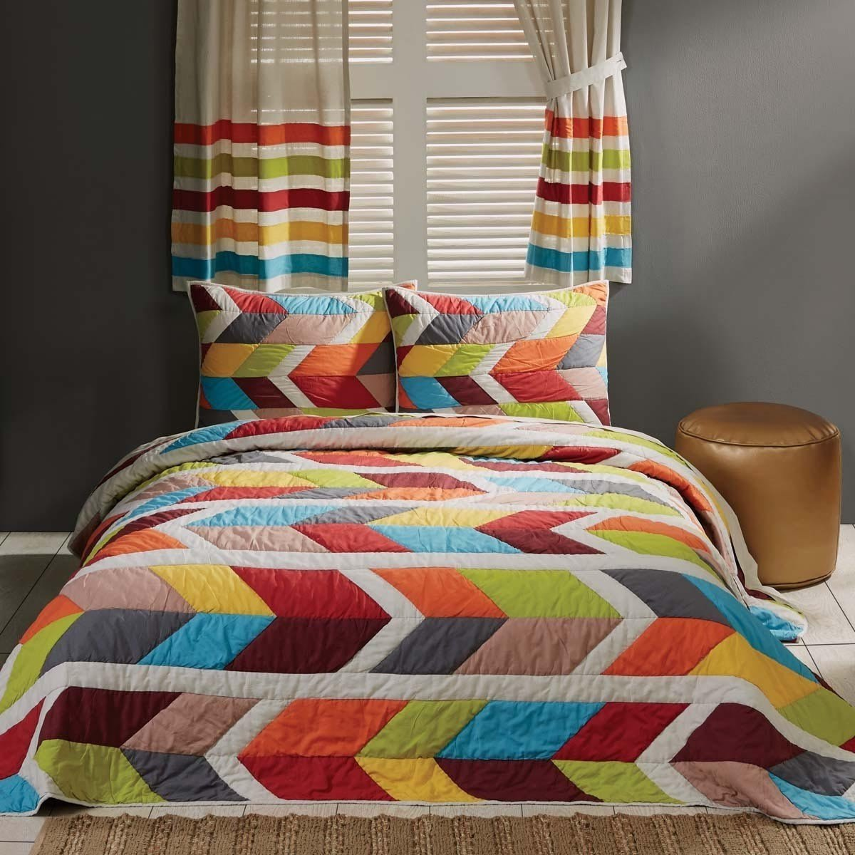 3 Piece Girls Rainbow Geometric Stripes Theme Quilt King Set, Beautiful Colorful Girly Multi Arrow Horozontal Striped Pattern, Pin Tuck Puckered Bedding, Vibrant Colors Red Blue Green Orange Grey