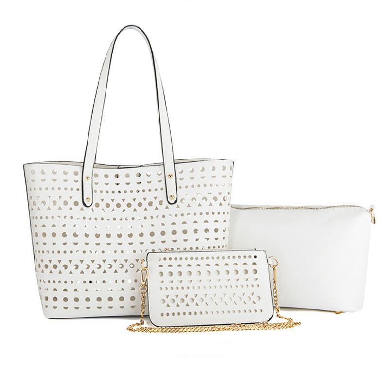 Fashion Hollow Out <strong>Tote</strong> For Women 3 Set Bags Female Shoulder Clutch Purse White Leather Messenger Beach Bags