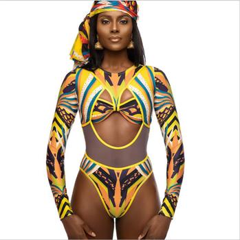 Buy Tribal Manga traje De Larga Baño Estampado Qy3820 Baño Impresión Traje Mujeres Africana Una Pieza Pk80wXONn