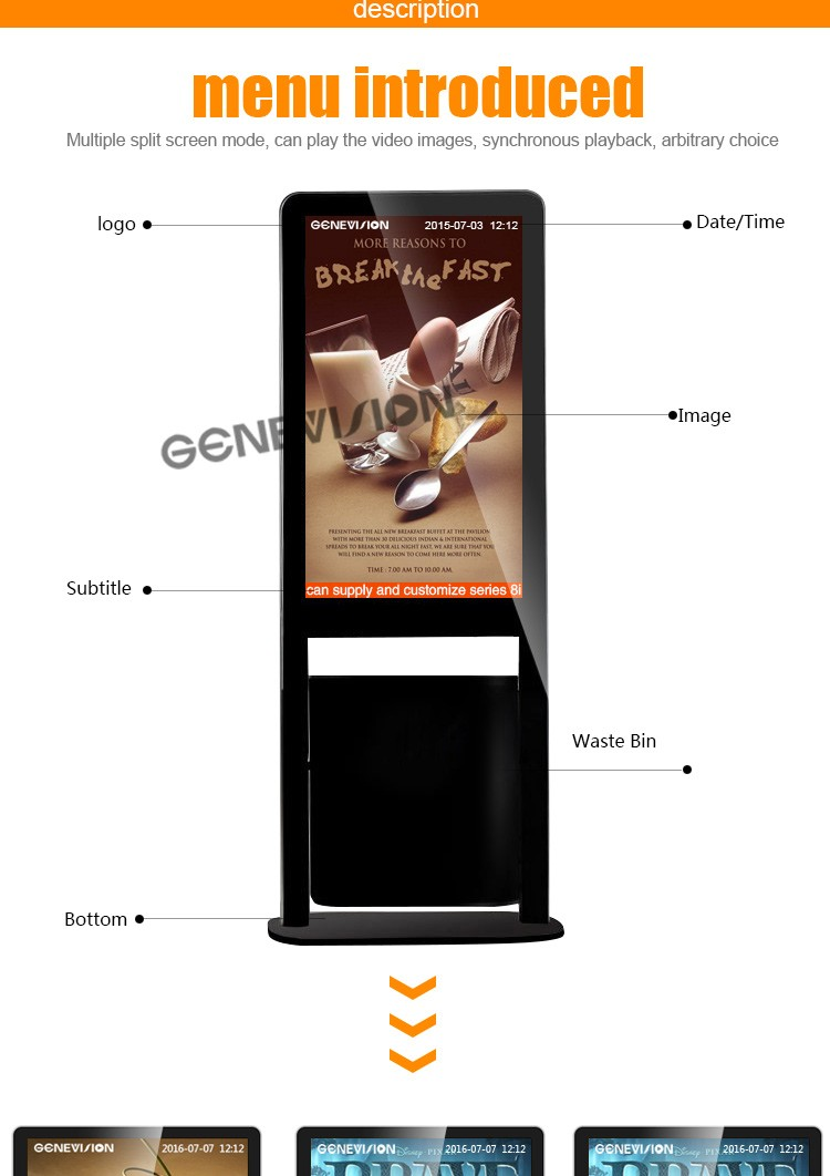 New product arrival for Shipping mall Wifi 3G update OEM lcd advertising display