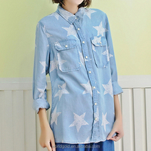 Manufacture women casual long sleeve washed t shirt with snap button & star print
