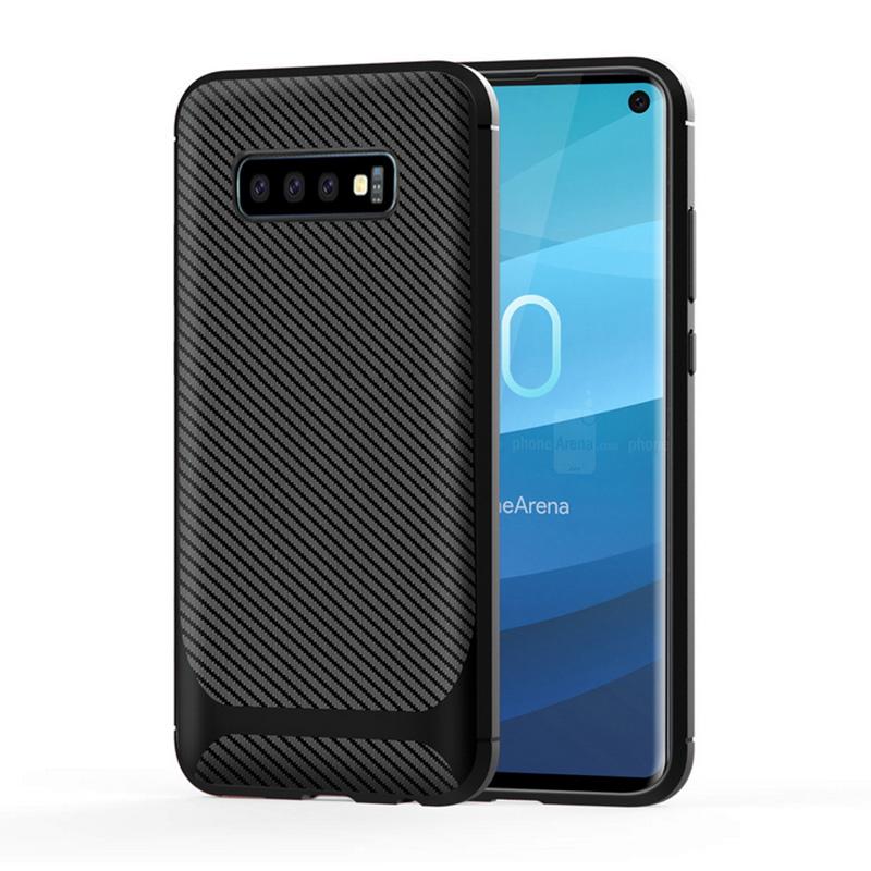 Carbon Fiber Design Soft TPU Back Cover for Samsung Galaxy S10 Phone Case