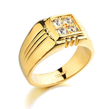 New Sale Real Italina Rings for men Genuine Austria Crystal 18K Gold Plated Fashion wedding ring