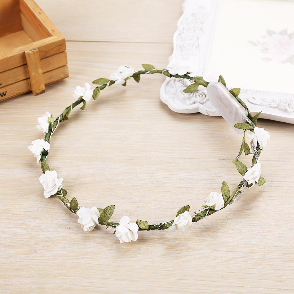 Glowing Garland Wedding Party LED Flashing Flower Headband LED Light Christmas Wreath Decoration Gift For Wedding Guest