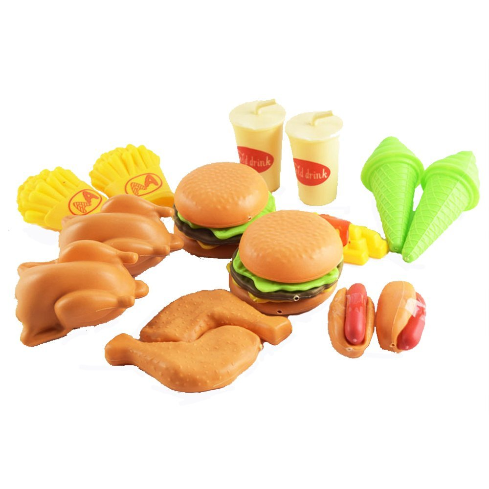 Kidcia 16 Pcs Pretend Play Fast Food Toy Set for Kids, Hamburge & Cola & Hot Dogs & Ice Cream & Chips & Fried Chicken & More